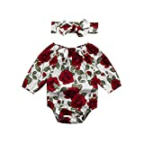 Baby Girls Infant Full Floral Print Clothes 2Pcs Toddler Jumpsuit Romper with Headband Set