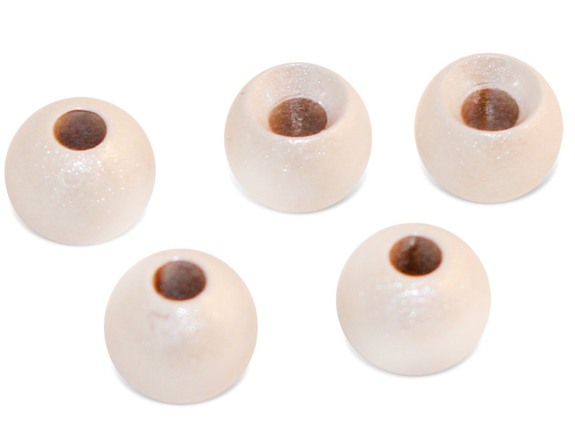 Prime Fish Co. Brass Fly Tying Bead Heads 100 Count (2.0mm, Pearl White)