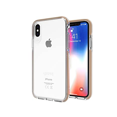 new styles 8b076 cd34d Gear4 IC8PICGLD Piccadilly Clear Case with Advanced Impact Protection [  Protected by D3O ], Slim, Tough Design for iPhone X/XS – Gold, ...