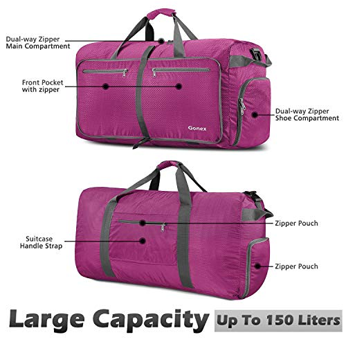 Gonex 150L Extra Large Duffle Bag, Packable Travel Luggage Shopping XL Duffel Rose Red