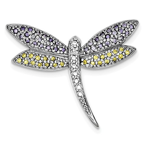925 Sterling Silver Rhodium-plated Multi Color Cubic Zirconia Dragonfly Pin for Women ()