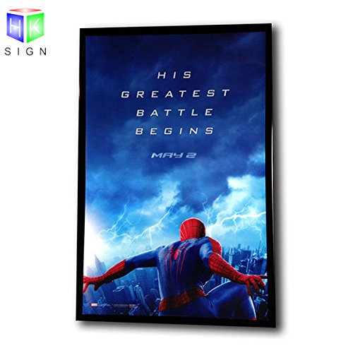 27 x 40 Inch Movie Posters Adertising Black Aluminum Frame Led Light Box Display , Backlit Advertisement Poster Frame