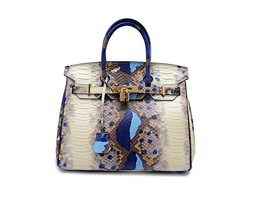 061aad75f1ce Lalagen Women's Snakeskin Embossed Genuine Leather Top Handle ...