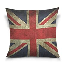 Double Sided Vintage Union Jack UK Flag Cotton Velvet Square Pillow Slipcovers 20x20 Inch Decorative for Chair Auto Seat