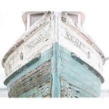 Nautical Ship, Beachy, Beach Print, Cottage Decor, Sea, Rustic Wall Art, Teal Fixer Upper, Bathroom, 11x14 Print