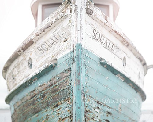 (Teal Nautical Ship, Vintage Beachy, Cottage Decor, Sea, Rustic Wall Art, Navy Fixer Upper, Bathroom, 8x10 Matted print)