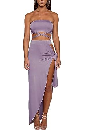 Mujer Verano Colores + Sólidos Tops Crop Falda 2 Pedazos Ropa de ...