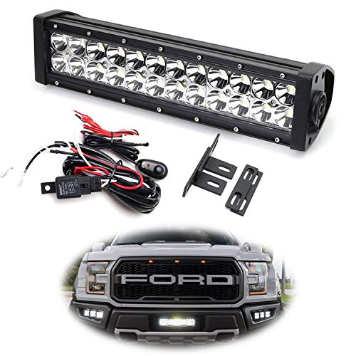 iJDMTOY Behind Grille LED Light Bar Kit For 2017-up Ford Raptor, Includes (1) High Power Double Row LED Lightbar, Inside Grill Mesh Mounting Brackets & Relay Wire ()