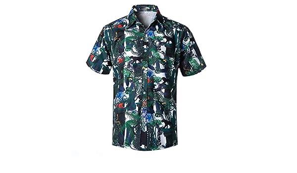 MOTOCO Hombre 3D Floral Camisas de Ajuste Regular Camisa Estampada Estampada Causal Camisa de Fiesta de Playa de Manga Corta Blusa(M, Verde): Amazon.es: Ropa y accesorios
