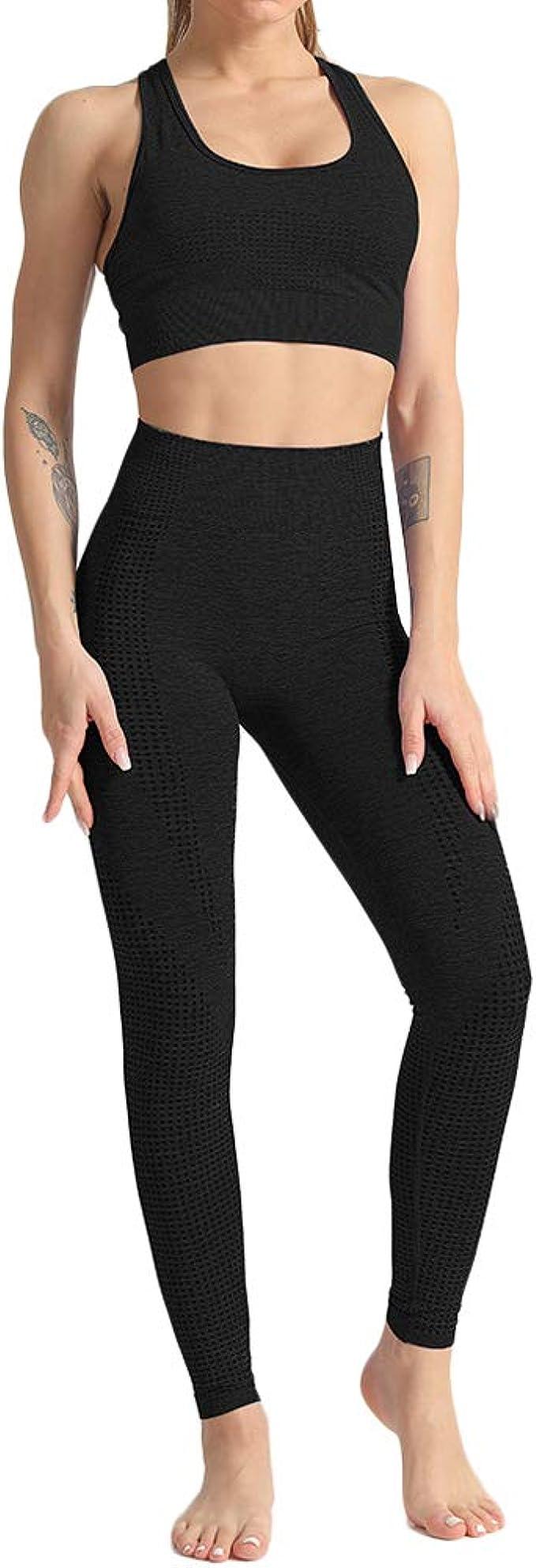 Mooyii Damen Fitness Bekleidung Sportanzug Sportswear Yoga Anz/üge Stretch Fit Gym Wear Set