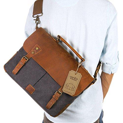 Lifewit-14-inch-Laptop-Messenger-Bag-Vintage-Genuine-Leather-Canvas-Briefcase-13Lx105H-x-41W