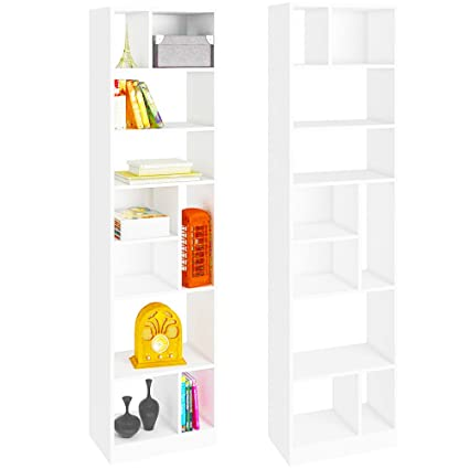 EFD Tall Narrow Bookcase 10 Shelf Tierred Divided White Open Display  Decorative Free Standing Floor