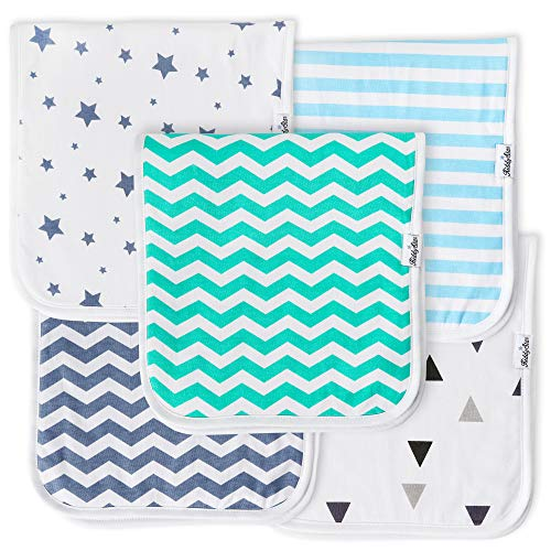 KiddyStar Baby Burp Cloths for Boys 5 Pack, Organic Cotton, Large 21