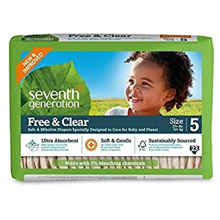 Seventh Generation Free and Clear Sensitive Skin Baby Diapers with Animal Prints, Size 5, 23 Count, (Pack of 4) by Seventh Generation