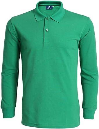 Hombre Polo Camisas Casual Manga Larga Dos Botón Polos Jersey Camisa Verde Oscuro S: Amazon.es: Ropa y accesorios