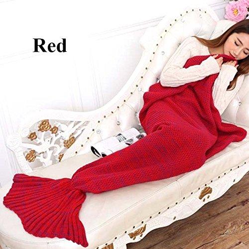 Red-Bedding Sofa Mermaid Blanket Wool Knitting Fish Style Little Tail Blankets Warm Sleeping Child Princess Loves Gift