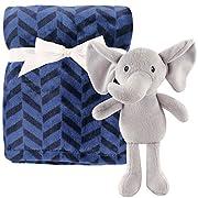 Hudson Baby Plush Blanket with Plush Toy Set, Boy Elephant