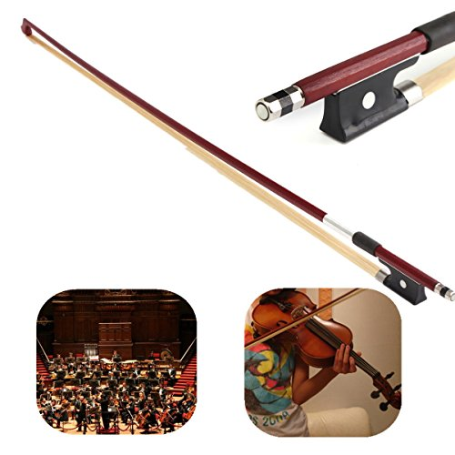zilwood Ebony Frog Violin Arbor White Horsehair Violin Bow (4/4 Brazilwood) (Plated Bow)