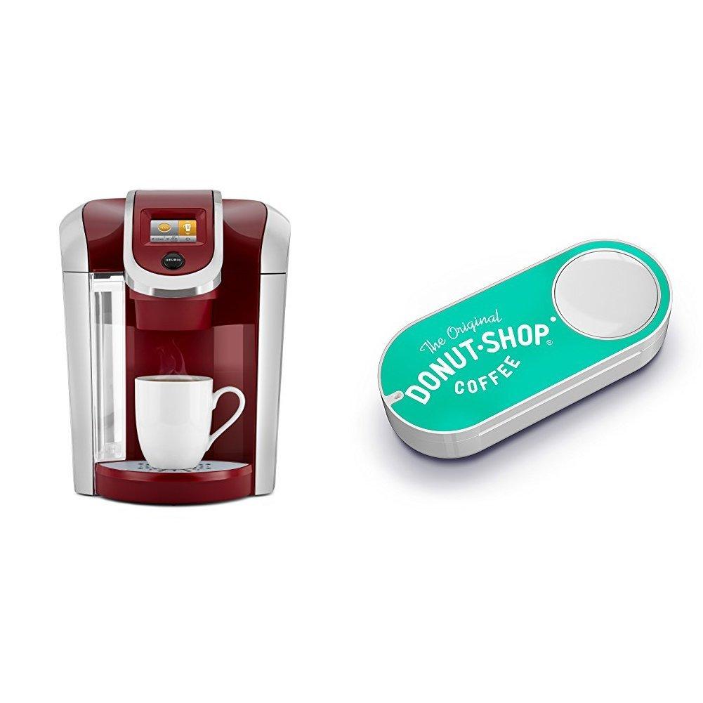 Keurig K475 Single Serve Programmable K- Cup Pod Coffee Maker, Vintage Red & Original Donut Shop Dash Button