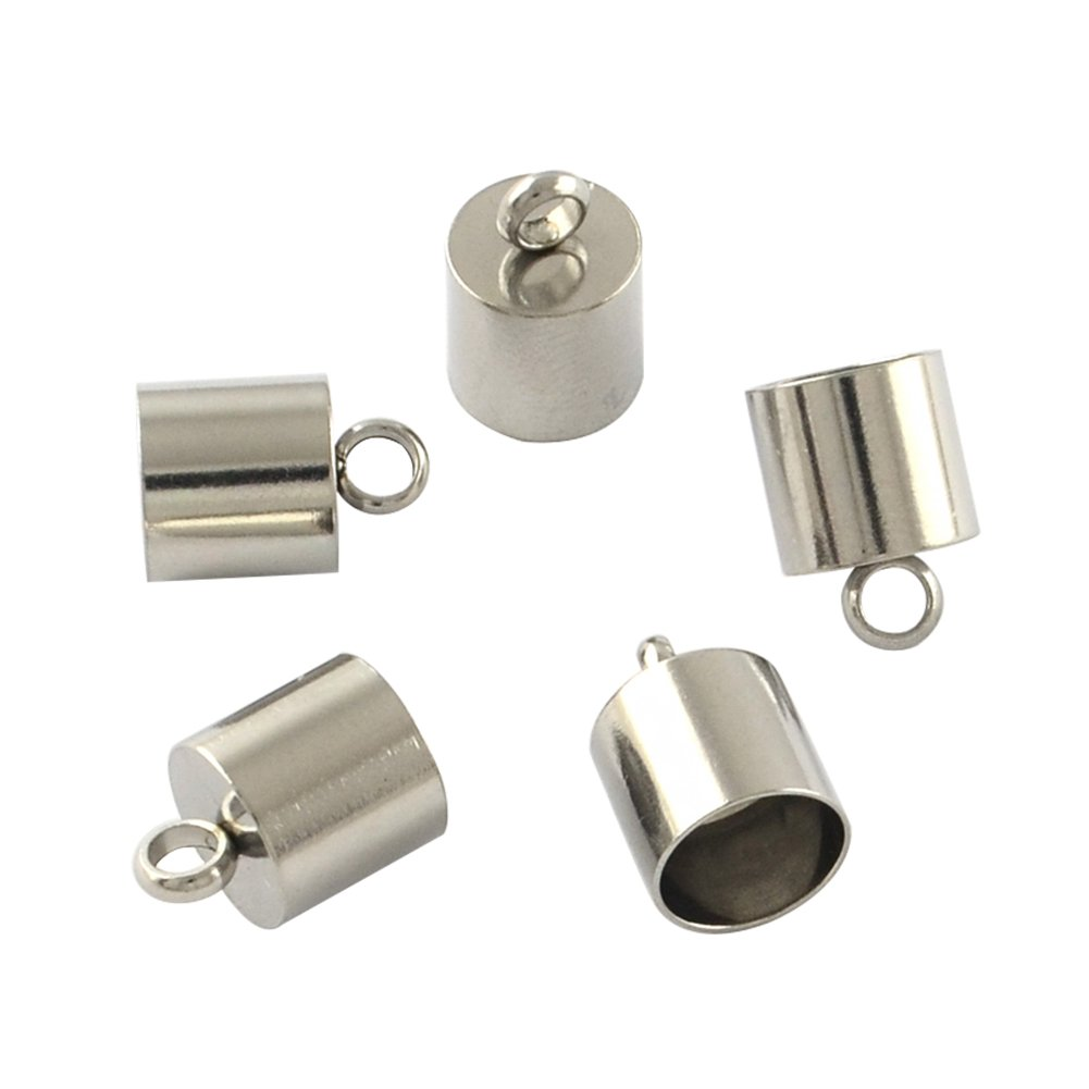 NBEADS 100pcs Stainless Steel Cord Ends Leather End Caps Leather Cord Cord Terminators with Loop 12x8mm, hole: 2.5mm