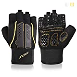 Trideer Padded Weight Lifting Gloves, Gym Gloves, Workout Gloves, Rowing Gloves, Exercise Gloves for Powerlifting, Fitness, Cross Training for Men & Women (A# Golden Basic, L (Fits 7.9-8.6 Inches))