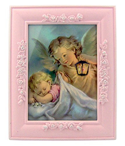Pink Resin Baby Frame (Guardian Angel with Sleeping Baby in Pink Resin Photo Frame, 5 Inch)