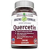 Erstaunlich Formulas - Quercetin 500 Mg * Supports Cardiovascular Health, Helps Improve Anti-Inflammatory & Immune Response, Supports Healthy Ageing And Overall Well-Being * (120)