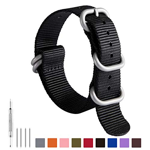 NATO Zulu Watch Strap Thick G10 Premium Ballistic Nylon Replacement Watch Bands for Men 18mm 19mm 20mm 21mm 22mm 23mm 24mm with Military Heavy Duty 5 Rings Stainless Steel Buckle