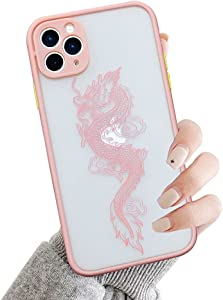 Ownest Compatible with iPhone 11 Pro Max Case for Clear Fashion Animal Dragon Cartoon Pattern Frosted PC Back 3D and Soft TPU Bumper Silicone Shockproof Protective Case for iPhone 11 Pro Max-Pink-Y