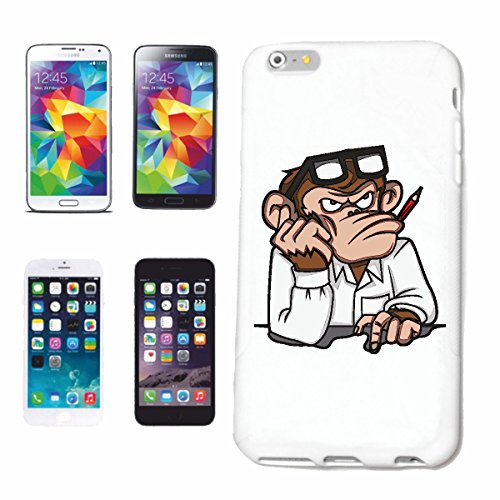 "cas de téléphone iPhone 6+ Plus ""MONKEY FAIT GERAD SON DEVOIR CHIMPANZEE MONKEY GORILLA APE SILVER orang-outan RETOUR GIBBON"" Hard Case Cover Téléphone Covers Smart Cover pour Apple iPhone en blanc"