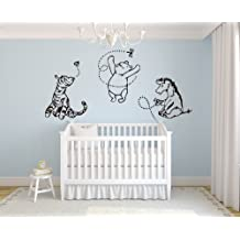 "Classic Winnie the Pooh with Tigger and Eeyore 76""Wx37H Wall Decal Quote Art Vinyl Sticker Baby"