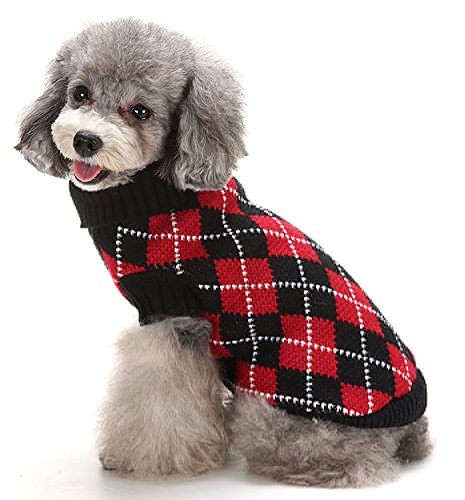 MaruPet Puppy Dog Ribbed Knit Sweater Knitwear Turtleneck Contrast Argyle Kintted Doggie Hoodies Apparel for Small Dog Red/Black (Argyle Hoody)