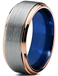 Tungsten Wedding Band Ring 8mm for Men Women Blue 18k Rose Gold Beveled Edge Brushed Polished Lifetime Guarantee