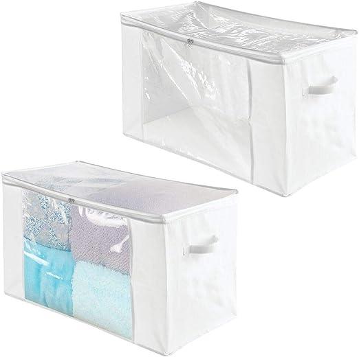 mDesign Juego de 2 cajas organizadoras de tela – Prácticas cajas ...