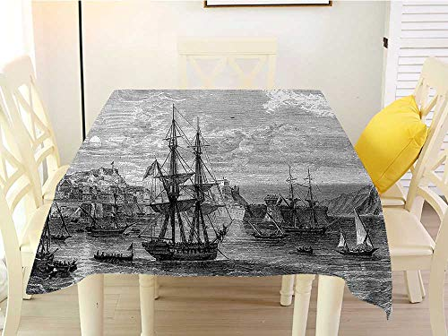 L'sWOW Small Square Tablecloth Antique Departing from Elba Vintage Engraved Illustration History of France Sails Vessels Black Grey Stripe 50 x 50 Inch