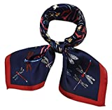 100% Real Mulberry Silk 21'' Women's Square Scarfs Scarves Oxford Blue and Red Dragonfly Pattern