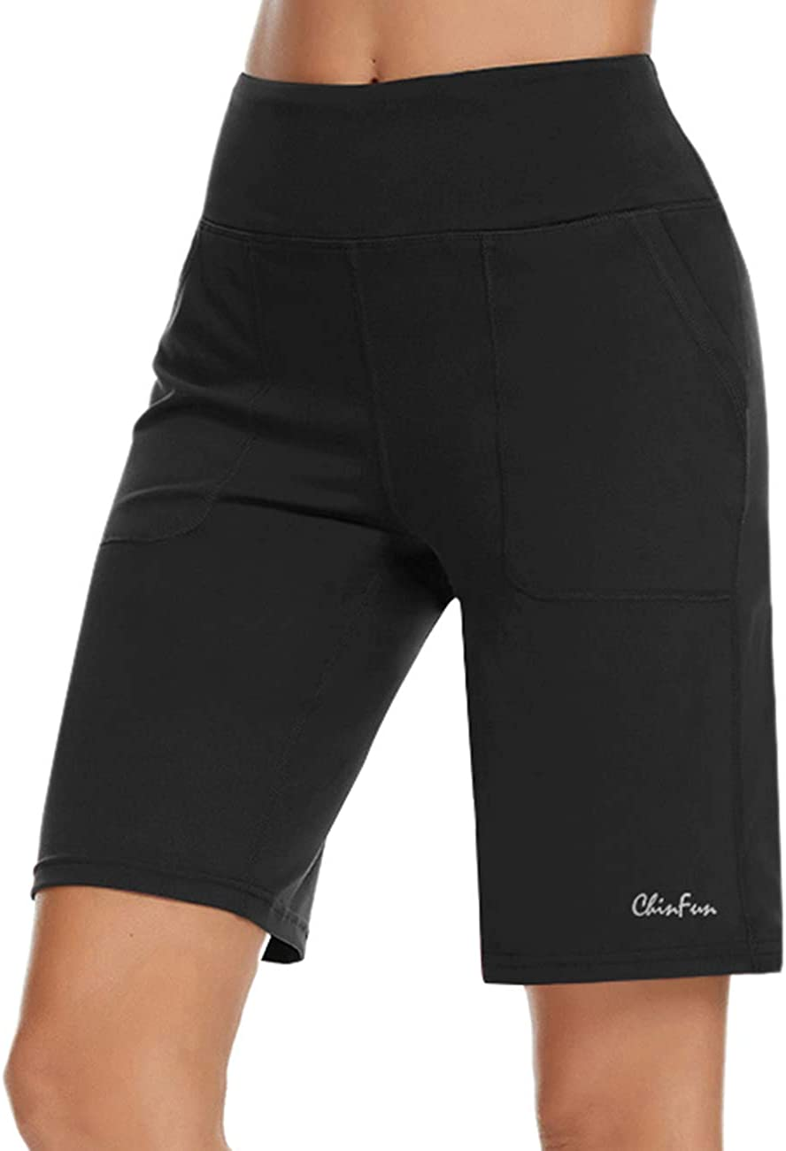 """ChinFun Women's 10"""" High Waist Yoga Shorts Athletic Workout Running Lounge Bermuda Shorts with Pockets"""
