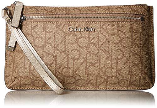 Calvin Klein Key Item Top Zip Monogram Wristlet Clutch, Buck Wheat (Monogram Clutch Wristlet)
