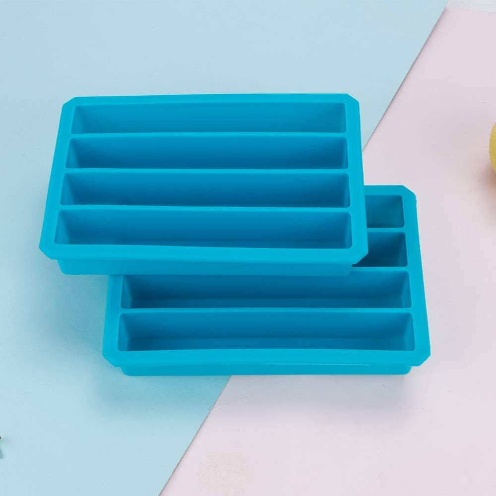 Webake Silicone Ice Cube Tray Water Bottle 2 Packs Long Ice Stick Tray Mould Easy Release for Water Soda Juice Sport Bottles
