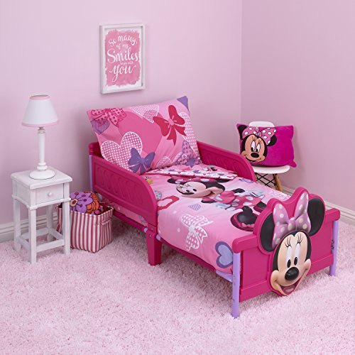 Disney Minnie Hearts & Bows 4-Piece Toddler Set,fits, Standard Toddler Mattress (52