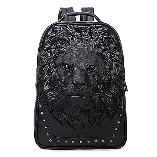 (3D Print Animal Studded Backpack, PU Leather Cool Backpack Bookbag (Lion-Black) )