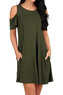 dbf5d04c237 OFEEFAN Women s Cold Shoulder Tunic Top T-Shirt Swing Dress with Pockets