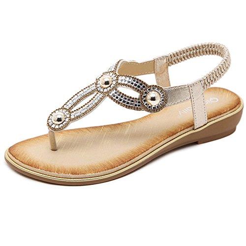 逆にギャラリー無意識XIAOLIN サマークリップトウサンダル女性韓国人中空ダイヤモンドフラットボトムオープントゥビーチシューズ学生靴の潮(3色可能)(オプションのサイズ) (色 : 03, サイズ さいず : EU40/UK7/CN41)