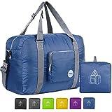 Wandf Foldable Travel Duffel Bag Luggage Sports Gym Water Resistant Nylon (Navy Blue)