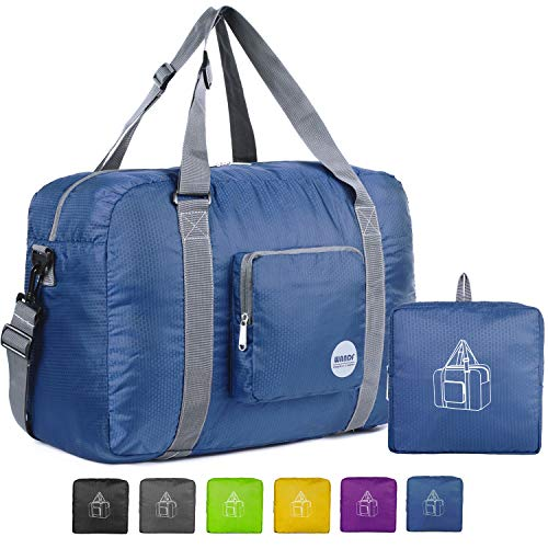 Wandf Foldable Travel Duffel Bag Luggage Sports Gym Water Resistant Nylon (Navy Blue) (Shopping Bags That Fold Into A Pouch)