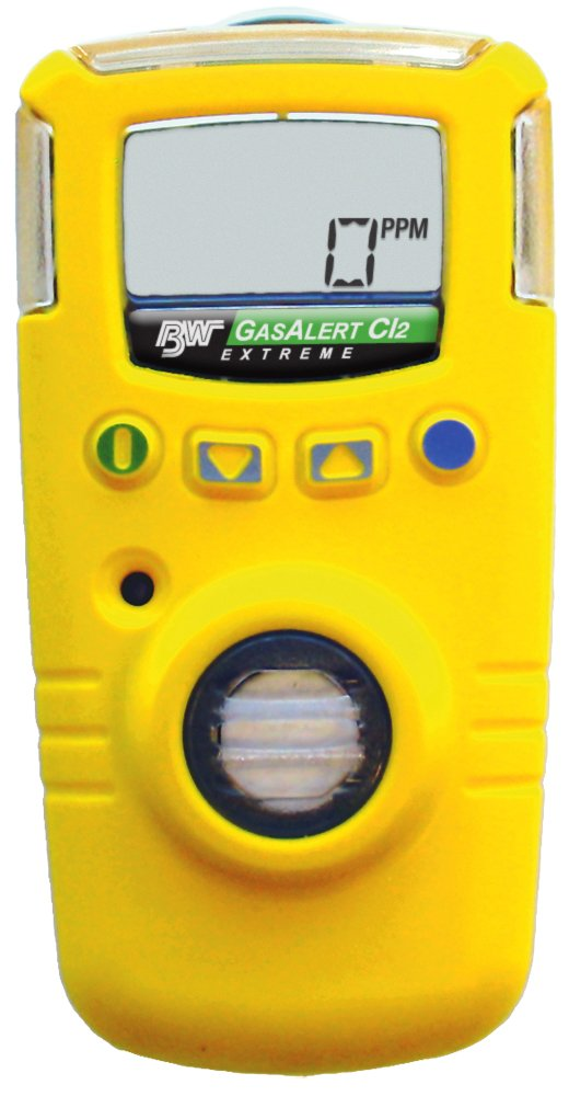 BW Technologies GAXT-C-DL GasAlert Extreme Chlorine (Cl2) Single Gas Detector, 0-50.0 ppm Measuring Range, Yellow