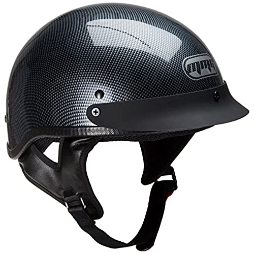 Motorcycle Half Helmet Cruiser DOT Street Legal - Carbon Fiber (Large)