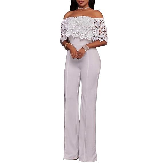 Synker Femme Dentelle Floral Plissée Combinaison Épaules Dénudées Longue  Jumpsuit Pantalons 41418c0d20ec