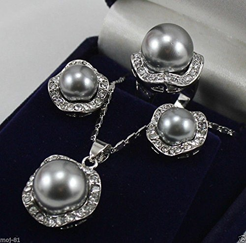 Gray Shell Pearl Necklace - 10mm &14mm Gray South Sea Shell Pearl Earrings Ring & Necklace Pendant Set