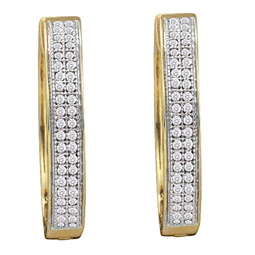 The Diamond Deal 10kt Yellow Gold Womens Round Diamond Double Row Pave Hoop Earrings 1/4 Cttw
